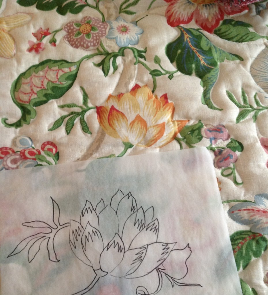 A bouquet of flowers were selected from the fabric design. I sketched several & made copies to assist with composition layout on the master bath walls.