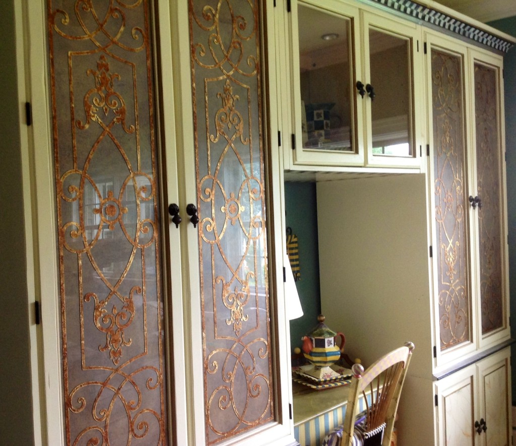 Custom Glass Finish for Suzanne's Music Room Featuring Ornamental Metallic Foil Grillwork.