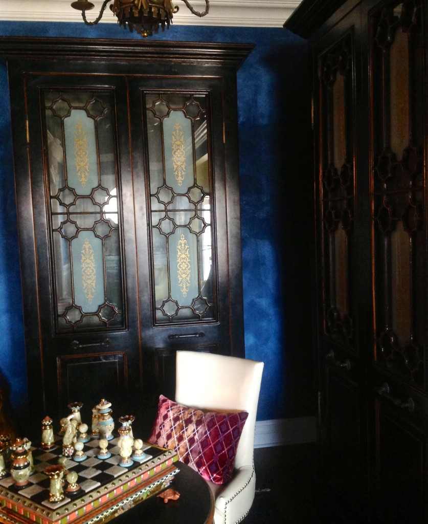 A cozy nook to play chess in the entrance foyer...with rich Cobalt Blue Lusterstone walls I had finished via trowel.