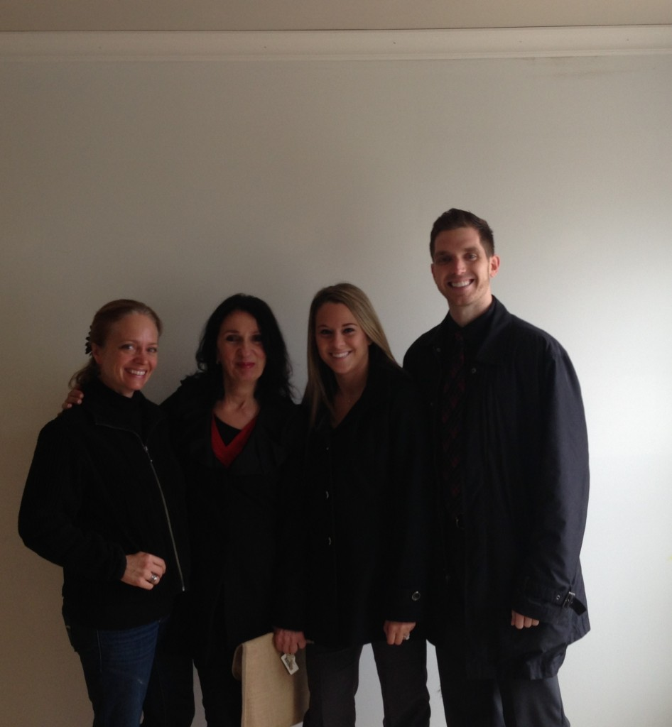 Before shot of the Parade home master bedroom feature wall - with yours truly, Interior Designer Rene Settineri, and new home owners the lovely Lauren Marinelli and her fiancé, Ryan Geiger...a great team!