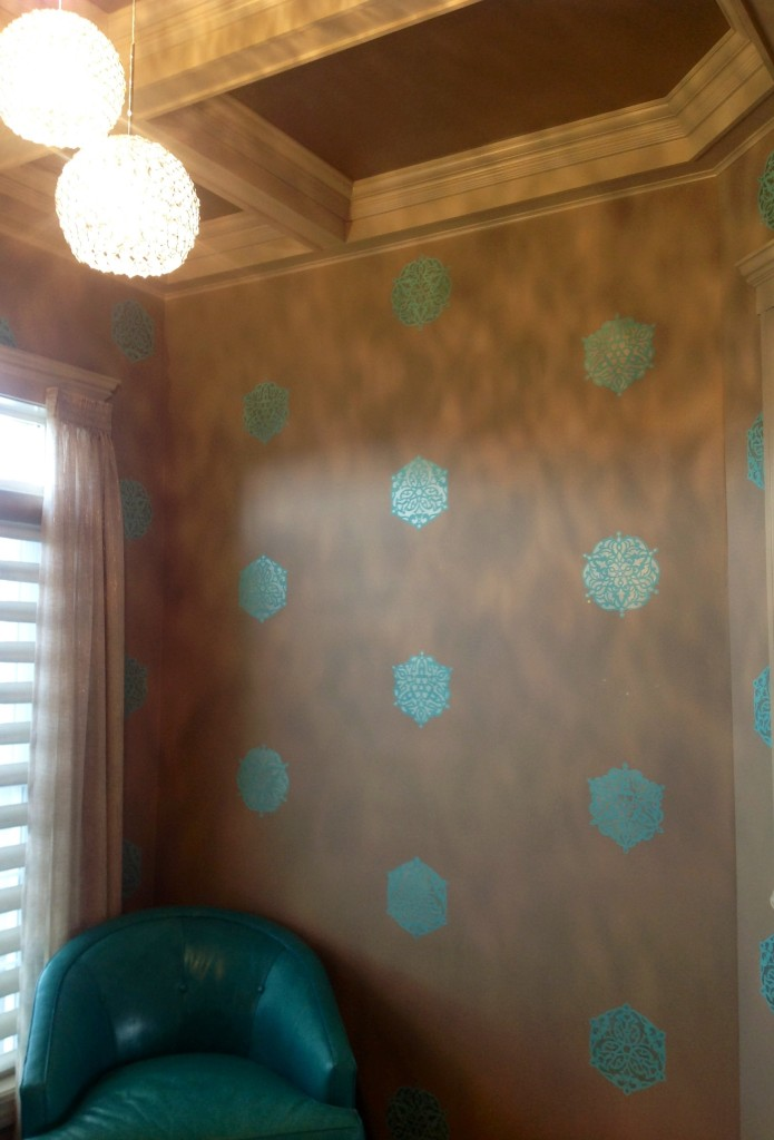 ...a lovely complement to the custom stenciled wall medallions with pops of Tiffany Blue accent color