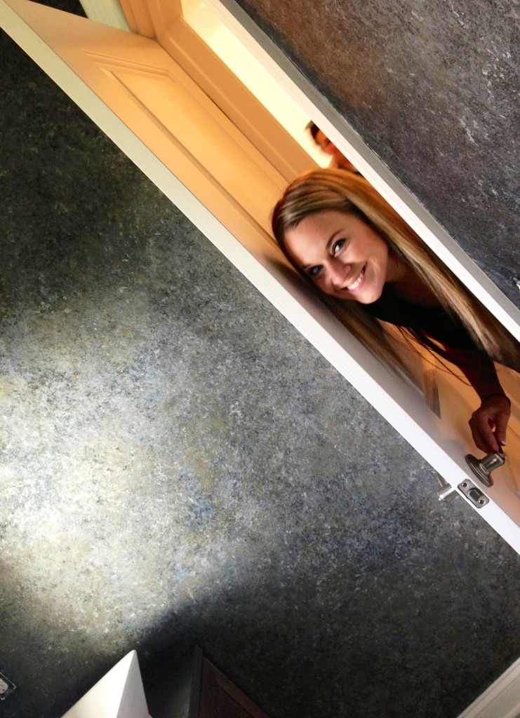 "Lauren checks on my progress - creating a pewter bronze foil finish with silvery color-washed ceiling in the powder room. Many guests thought the hand-wrought finish was high-end wallpaper until we pointed out ""There are no seams - one of the many perks of custom faux finishes!"""