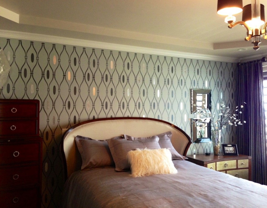 Master bedroom hand-painted trellis feature wall with gilded silver leaf accents to catch the light, add depth and interest