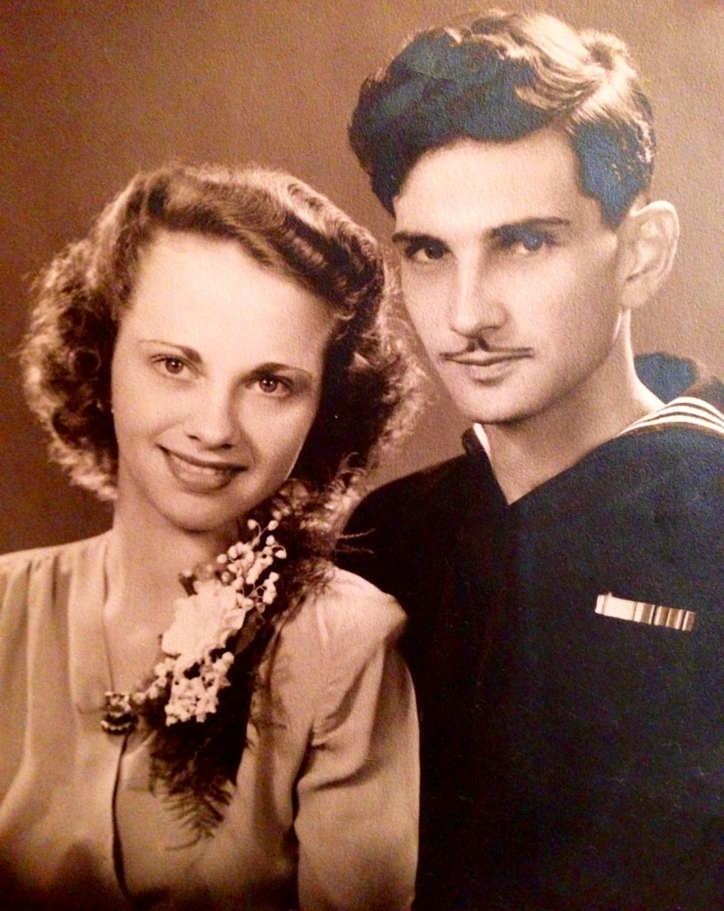 Beloved grandfather, Robert Bruno with grandmother, Virgina.  World War II - stationed on the Corporal's ship in the San Fransisco Harbor, as a member of the military band (trombone) on December 7, 1941
